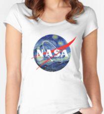 NASA Tailliertes Rundhals-Shirt