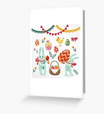 Happy Easter Set of Elements - Rabbits, Eggs, Chicks, Flowers and Garlands Greeting Card