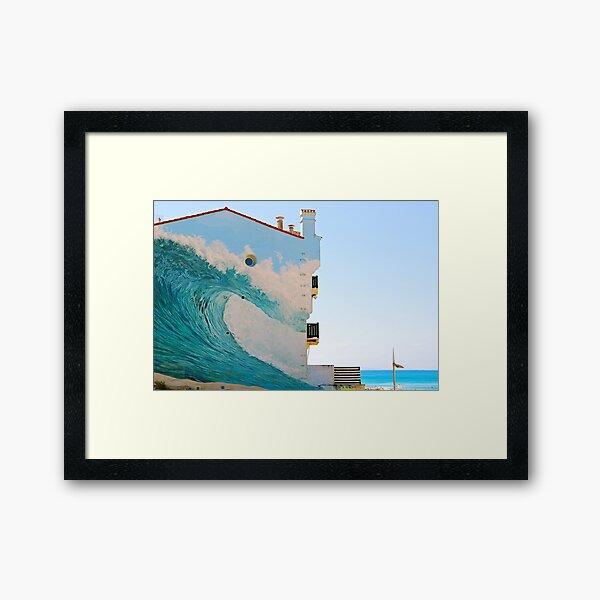 The Wave Trompe l'oeil - Hossegor, France. Framed Art Print