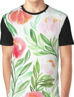 Pink Peach Flower in Watercolor Painting Graphic T-Shirt