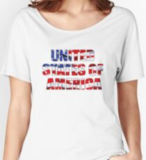 United States of America Words on American Flag Women's Relaxed Fit T-Shirt
