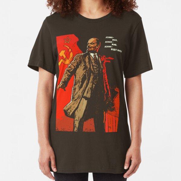 Lenin lived, Lenin lives, Lenin will live forever! Slim Fit T-Shirt