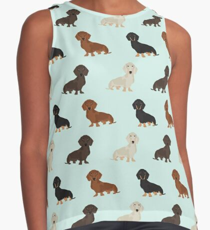 Doxie dachshund dachsie pattern print dog lover dog breed custom dog art by pet friendly by PetFriendly Sleeveless Top