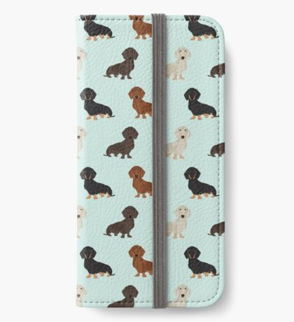 Doxie dachshund dachsie pattern print dog lover dog breed custom dog art by pet friendly by PetFriendly iPhone Wallet