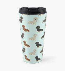 Doxie dachshund dachsie pattern print dog lover dog breed custom dog art by pet friendly by PetFriendly Travel Mug