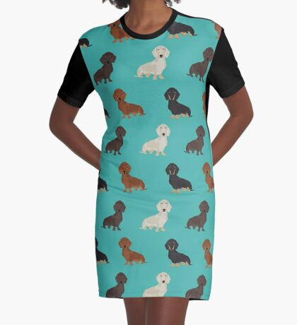 Doxie dachshund dachsie pattern print dog lover dog breed custom dog art by pet friendly by PetFriendly Graphic T-Shirt Dress