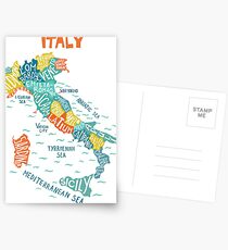 Italy decorative hand drawn map with regions. Postcards