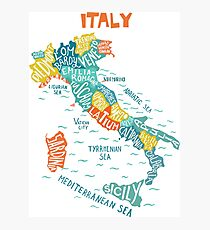 Italy decorative hand drawn map with regions. Photographic Print