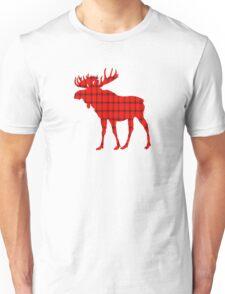 Moose: Rustic Red Plaid Unisex T-Shirt