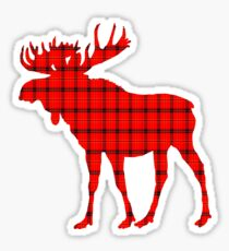 Moose: Rustic Red Plaid Sticker