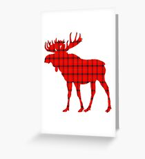 Moose: Rustic Red Plaid Greeting Card