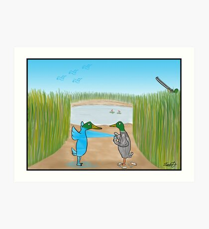 Duck Hunting Cartoon Art Print