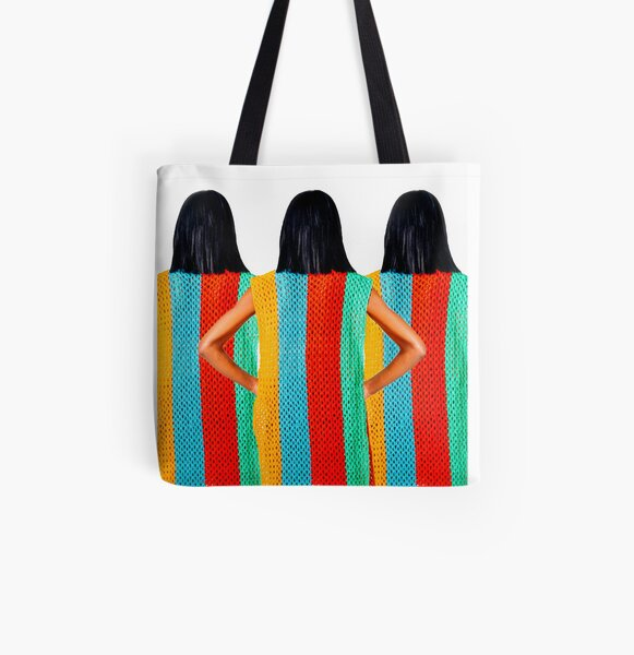 Striped All Over Print Tote Bag