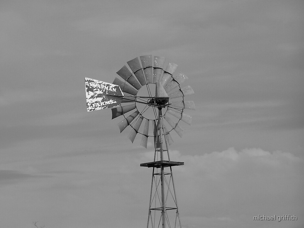 black and white windmill by michael griffith