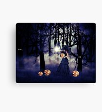 Halloween witch with pumpkin Canvas Print
