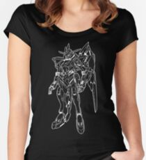 Gundam Bael Outline White Women's Fitted Scoop T-Shirt