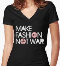 MAKE FASHION NOT WAR Women's Fitted V-Neck T-Shirt