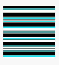 Horizontal Stripes Pattern: Ice Blue Photographic Print