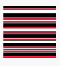 Horizontal Stripes Pattern: Cherry Red Photographic Print