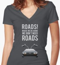 Back to the Future - Roads Women's Fitted V-Neck T-Shirt