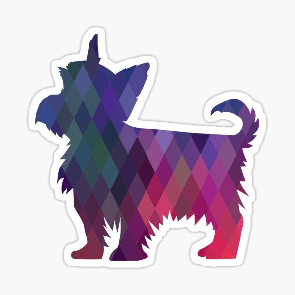 Yorkie Dog Colorful Geometric Pattern Silhouette - Pink Sticker