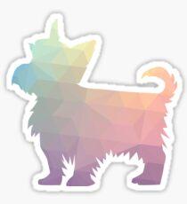 Yorkie Dog Colorful Geometric Pattern Silhouette - Pastel Sticker