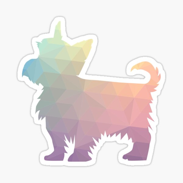 Yorkie Dog Colorful Geometric Pattern Silhouette - Pastel Sticker