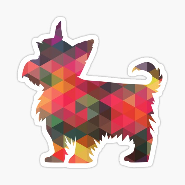 Yorkie Dog Colorful Geometric Pattern Silhouette - Multi Sticker