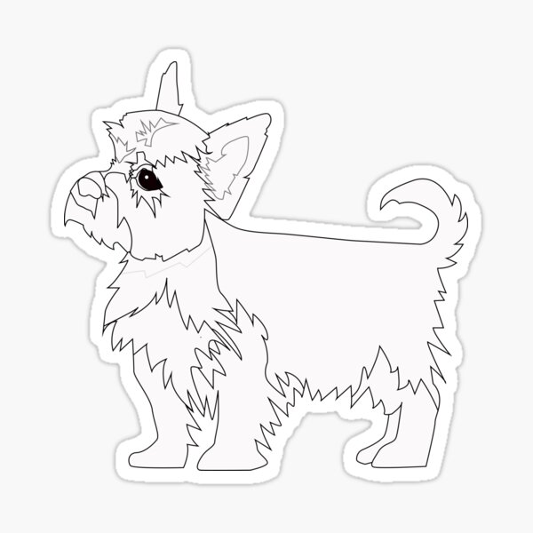 Yorkie Dog Breed Coloring Page Silhouette Sticker