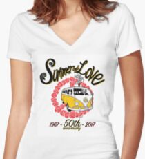 Summer of Love 50th Anniversary Women's Fitted V-Neck T-Shirt
