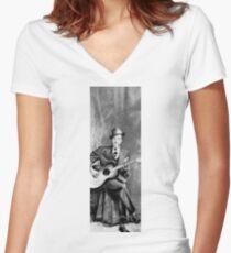 Portrait of Robert Johnson Women's Fitted V-Neck T-Shirt