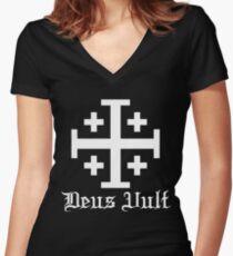 Crusader Cross - Deus Vult - White Women's Fitted V-Neck T-Shirt