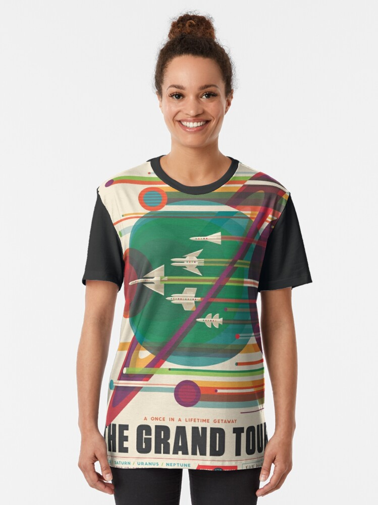 Alternate view of Retro Space Poster - The Grand Tour Graphic T-Shirt