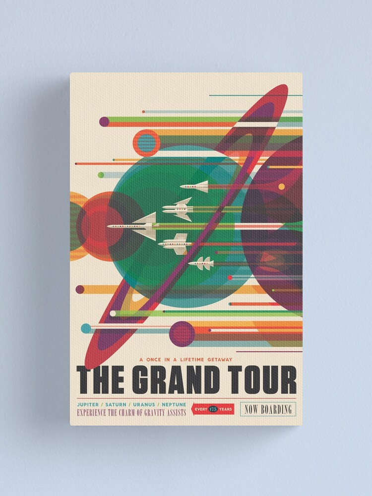 Alternate view of Retro Space Poster - The Grand Tour Canvas Print