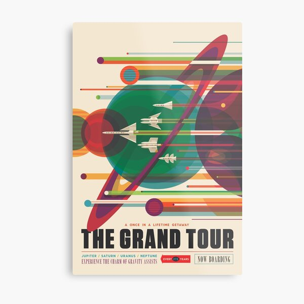 Retro Space Poster - The Grand Tour Metal Print