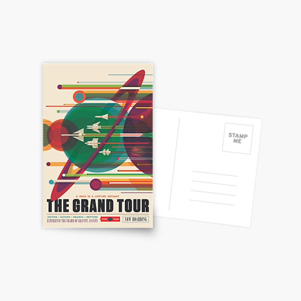 Retro Space Poster - The Grand Tour Postcard