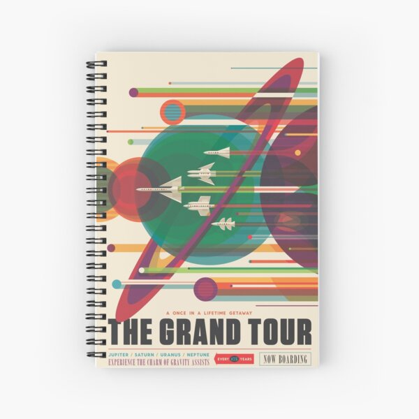 Retro Space Poster - The Grand Tour Spiral Notebook