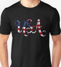 United States of America on American Flag Curvy Unisex T-Shirt