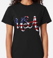 United States of America on American Flag Curvy Classic T-Shirt