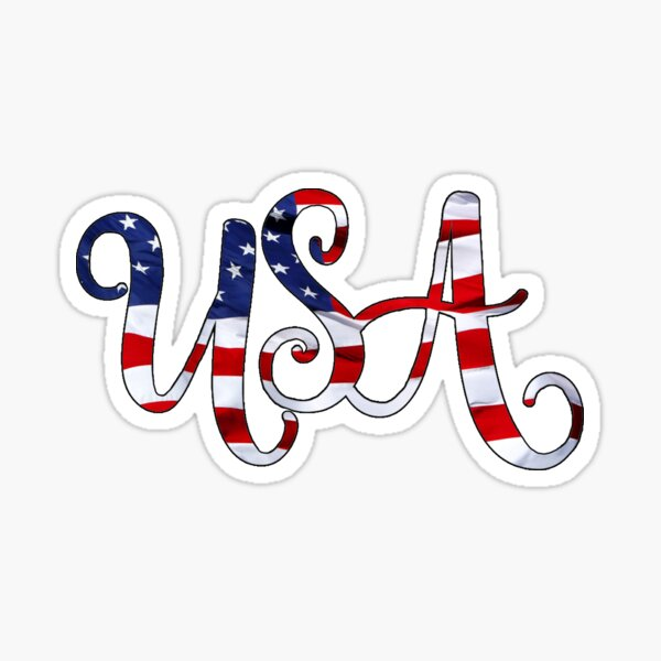 United States of America on American Flag Curvy Sticker