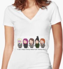 I Like Stories Where Women Save Themselves Women's Fitted V-Neck T-Shirt
