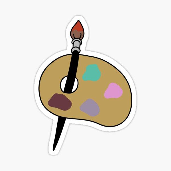 Pincel con paleta de pintura Pegatina