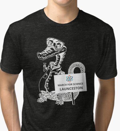 March for Science Launceston – Crocodile, white Tri-blend T-Shirt