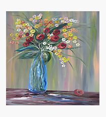 Flowers in a Blue Vase Soft Focus Photographic Print