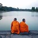 Monks At Holy Pond, Angkor by Dave Lloyd
