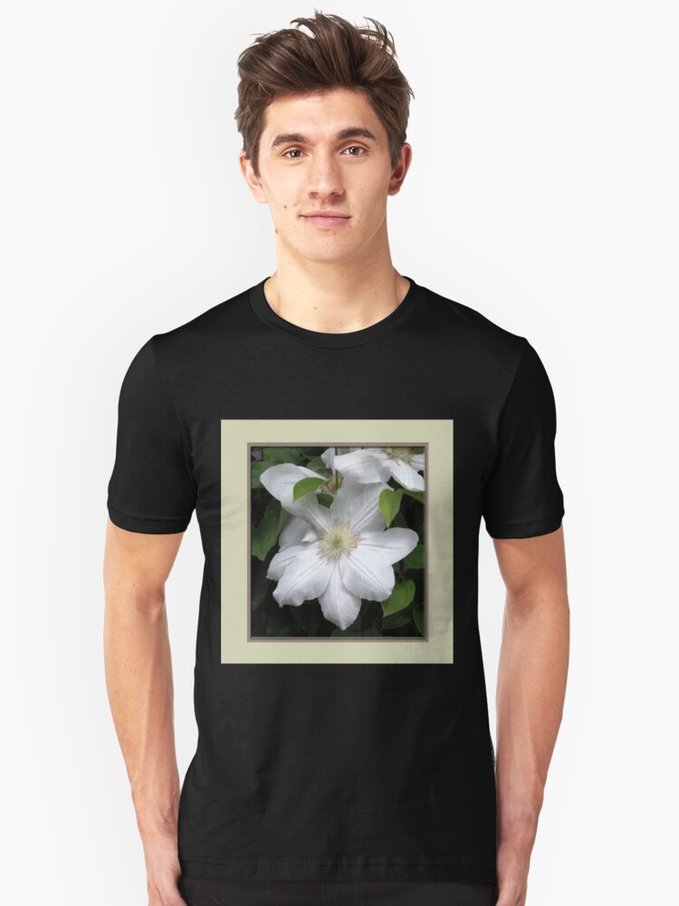 White Clematis Unisex T-Shirt Front