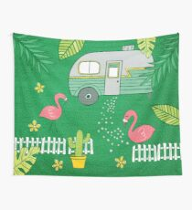 Campsite Flamingos Wall Tapestry