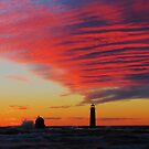 Grand Haven Lighthouse Sunset Waves by stormypleasures
