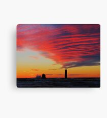 Grand Haven Lighthouse Sunset Waves Canvas Print