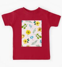 Watercolor Pattern with Yellow Blue Flowers Kids Tee
